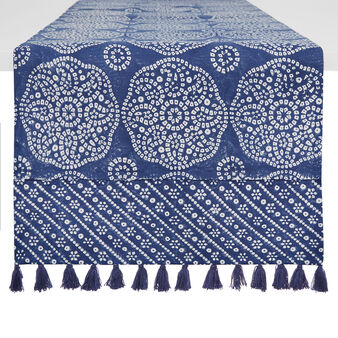 Hand-printed table runner in 100% cotton