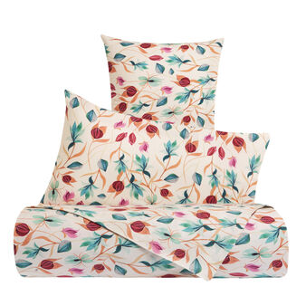 Cotton percale duvet cover with floral pattern