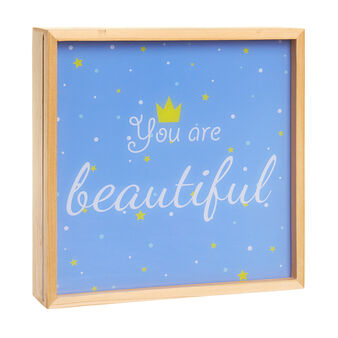 Wooden LED light box with You Are Beautiful lettering