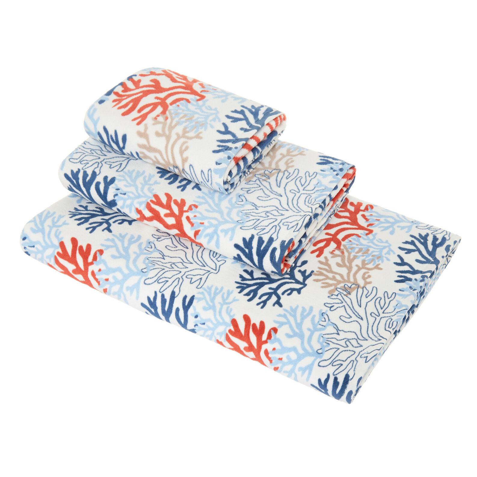 Velour cotton towel with coral motif