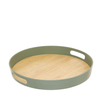 Round tray in wood and bamboo fibre