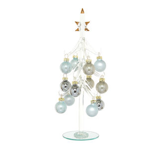 Glass tree with decorations
