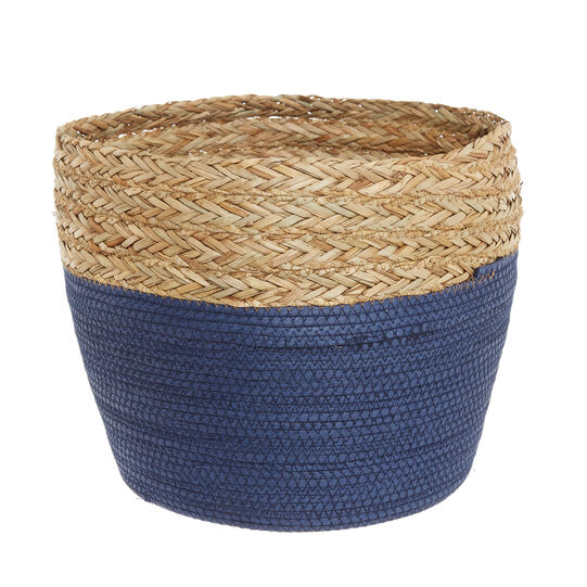 Hand-woven card and straw basket.