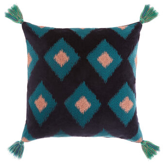 Cotton velvet cushion with diamond design 45x45cm