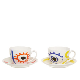 Set of 2 tea cups in new bone China with abstract motif