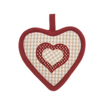 Heart-shaped pot holder in 100% cotton with polka dot and stripes