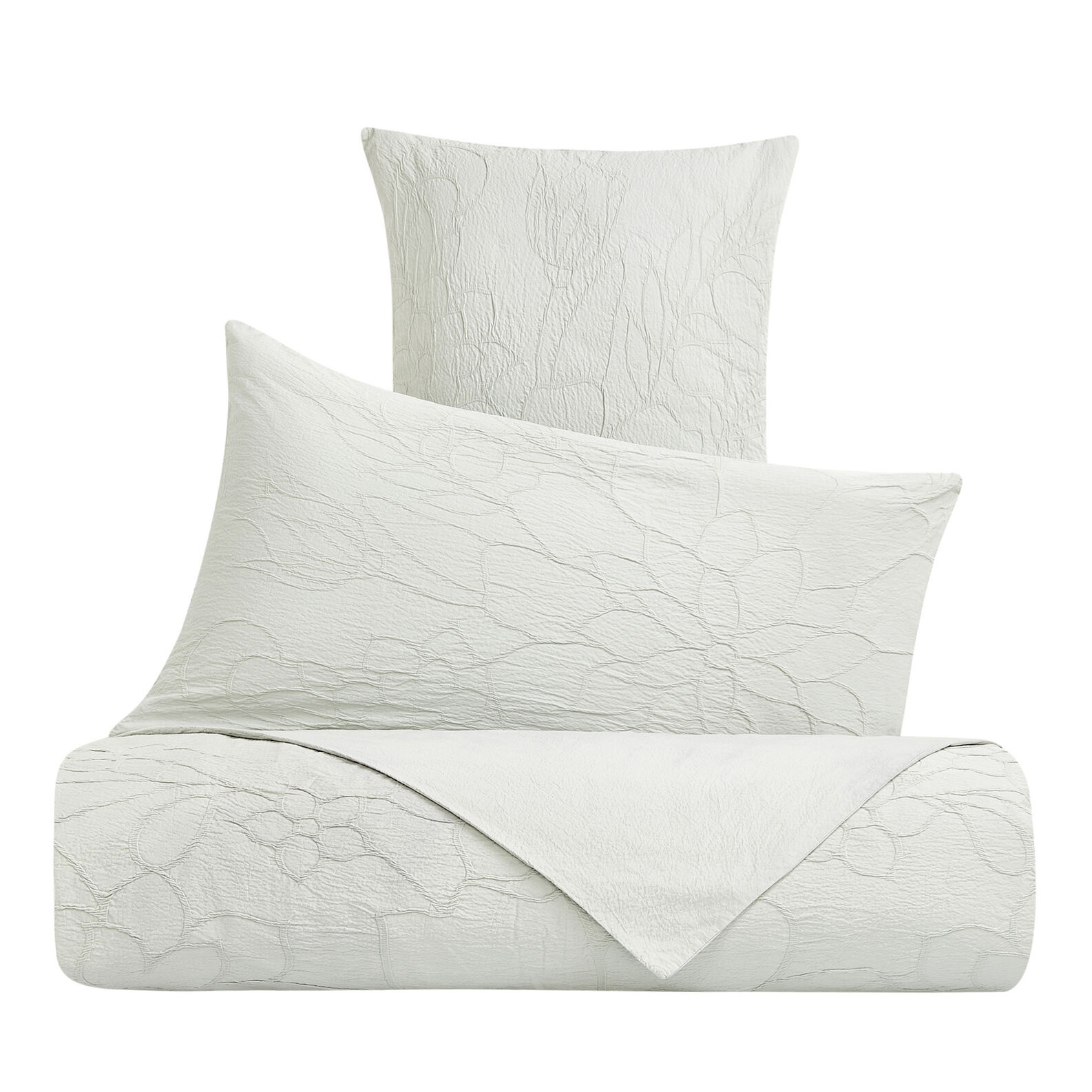Cotton pillowcase with raised floral pattern