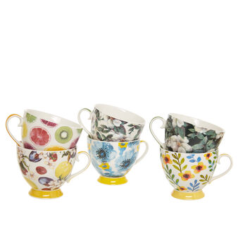 Breakfast cup in new bone China with floral motif