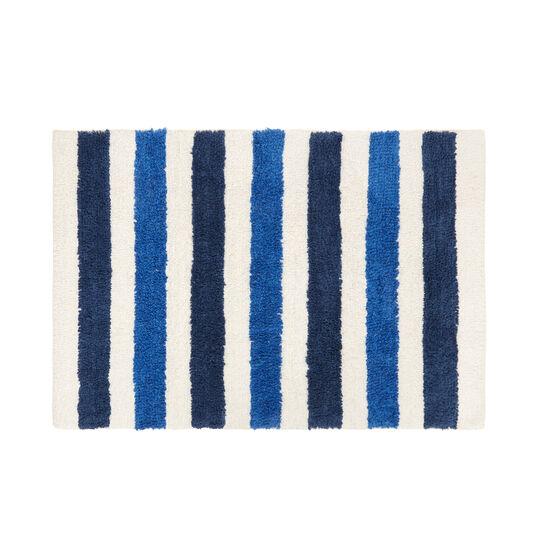 Striped 100% cotton bath mat