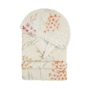 Cotton velour bathrobe with floral print