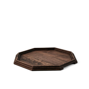 Octagonal tray in walnut wood by Francesco Meda