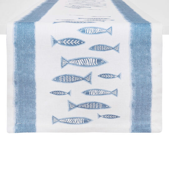 100% cotton table runner with fish print