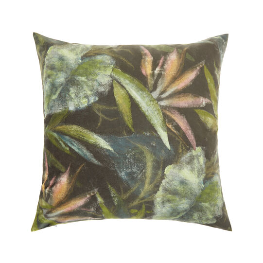 Velvet cushion with floral print (50x50cm)