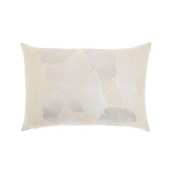 Jacquard fabric cushion with foliage motif 35x55cm