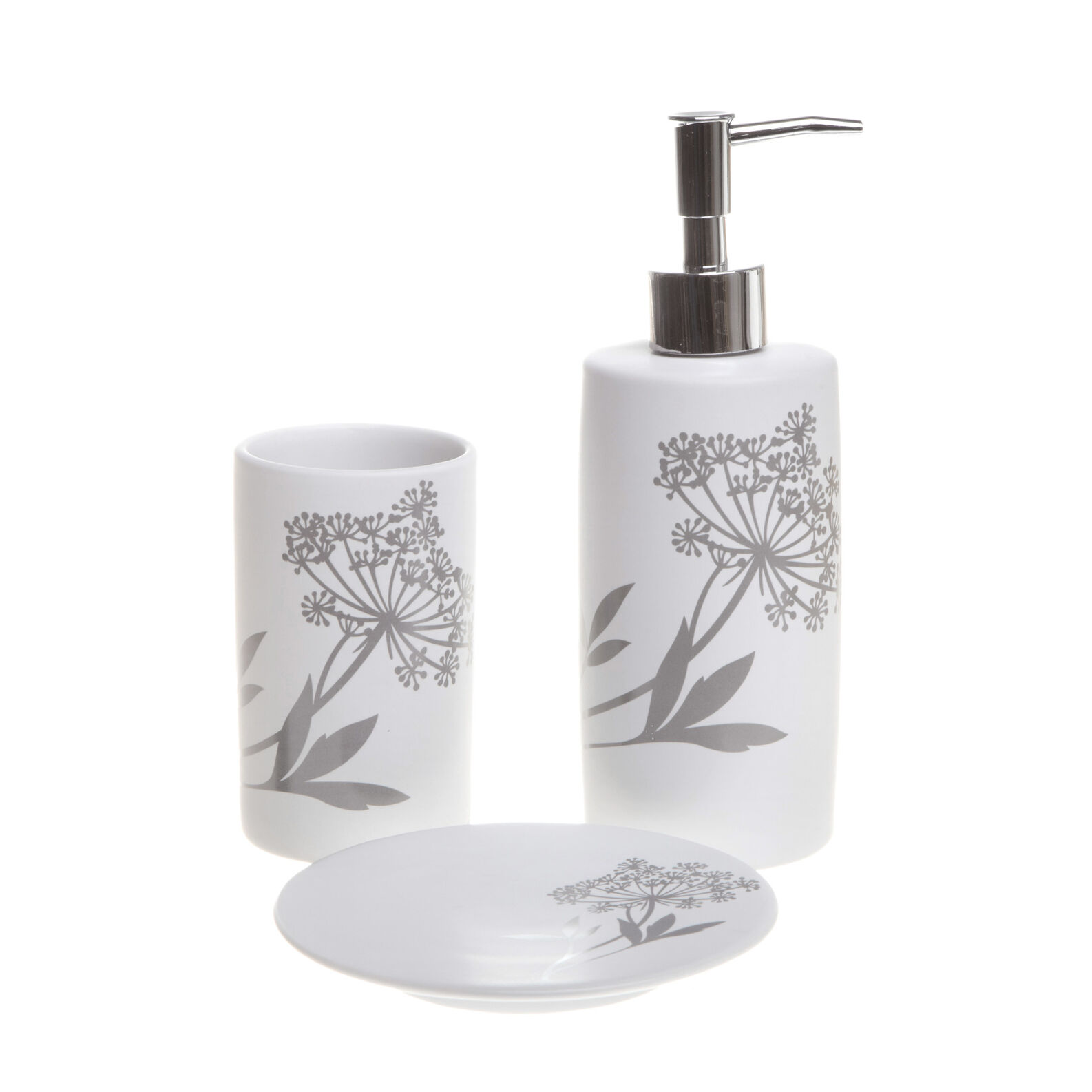 Floral ceramic bathroom set