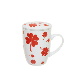 Porcelain infuser cup with four-leaf-clover decoration