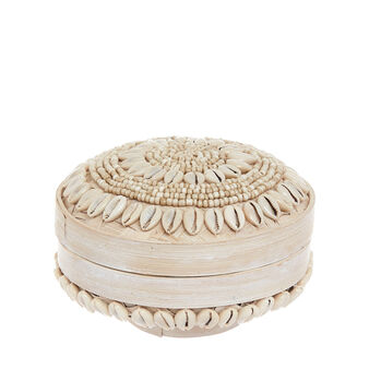 Hand-decorated bamboo box with shells