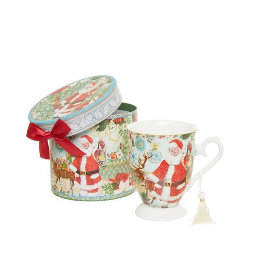 Vintage porcelain mug with Father Christmas decoration
