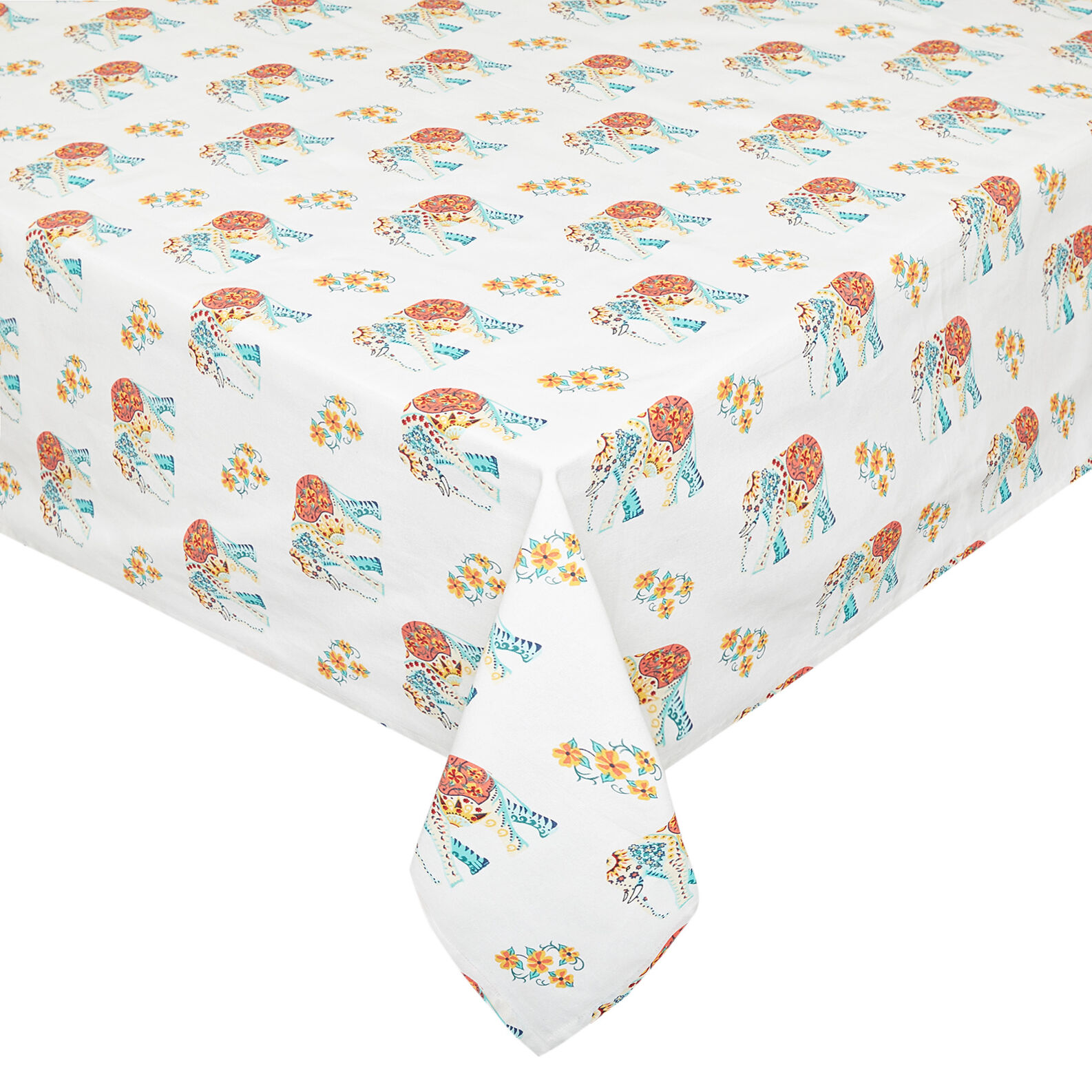 100% cotton tablecloth with elephants print