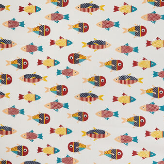 100% cotton tablecloth with fish print