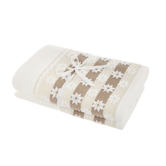 Set of 2 towels with jacquard flounce