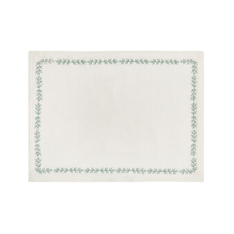 Linen and cotton placemat with leaves embroidery