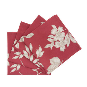 4-pack napkins in 100% cotton with foliage print