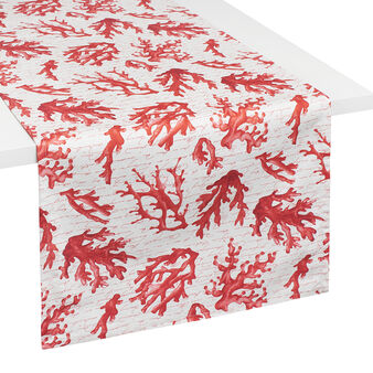 100% cotton table runner with coral print
