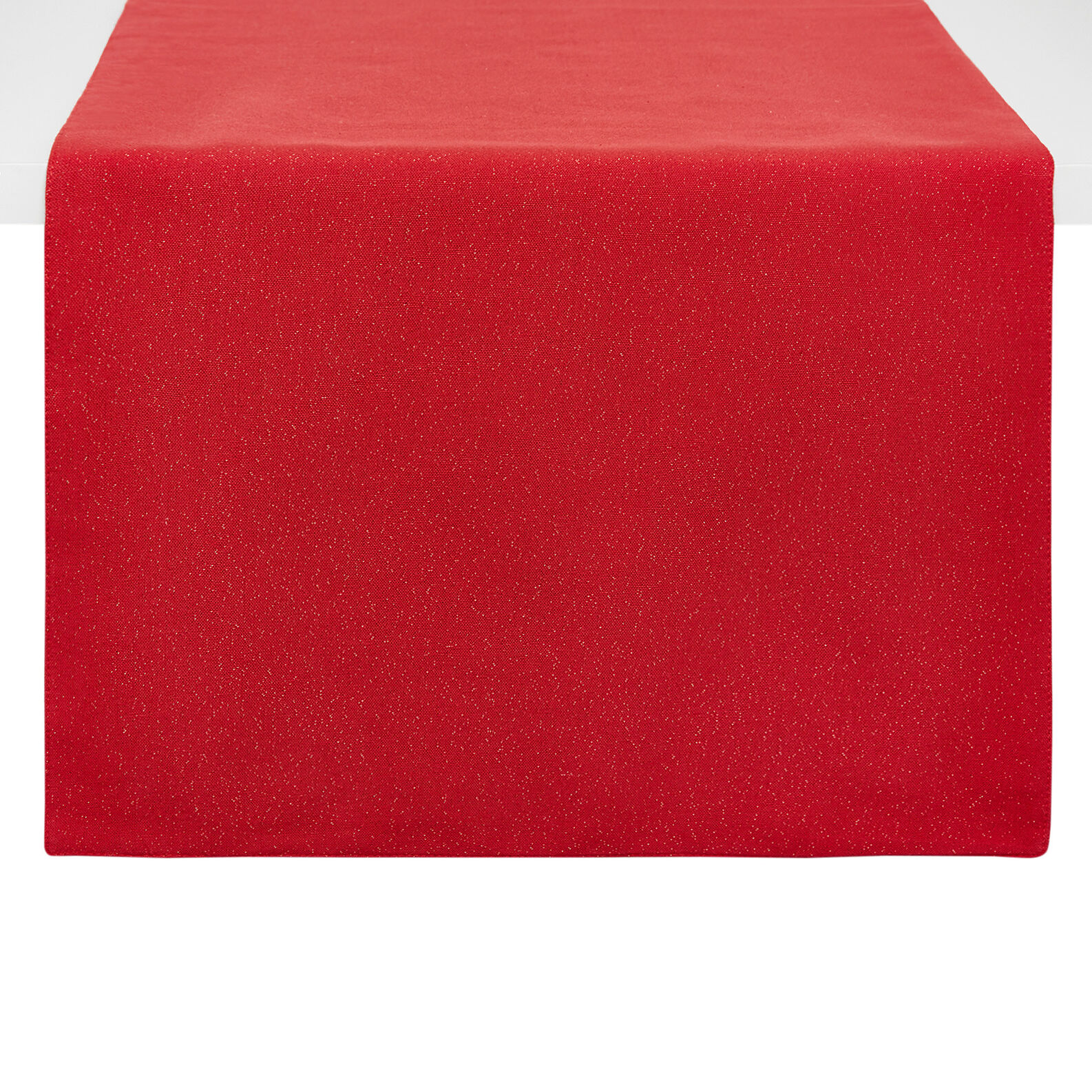 Solid colour cotton table runner with lurex threads
