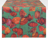 100% cotton table runner with fans print