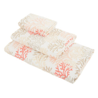 Cotton velour towel with coral print