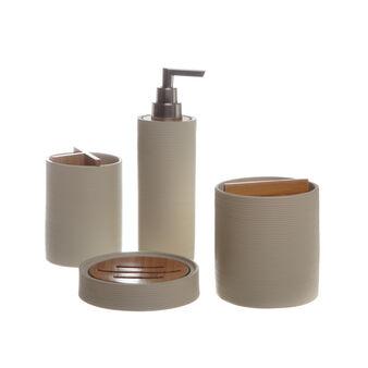 Wood polyresin bathroom set