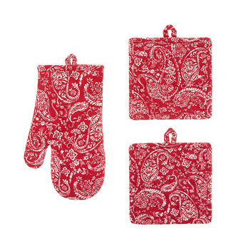 Set of 2 pot holders and an oven mitt in 100% cotton with paisley print