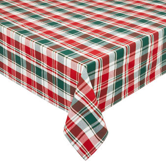 Tartan cotton twill tablecloth with and lurex yarn