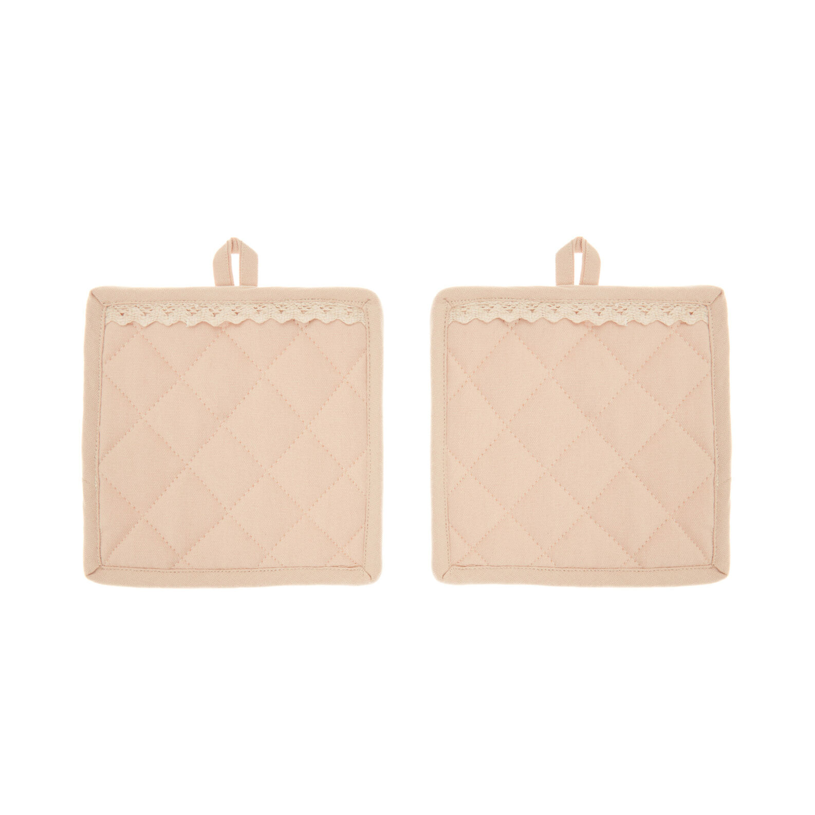Set of 2 100% cotton pot holders with frill