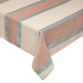 Yarn-dyed striped tablecloth in linen blend