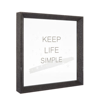 Keep Life Simple picture frame with sequins