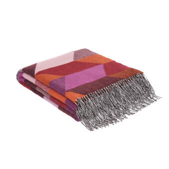 Wool blend throw with geometric motif