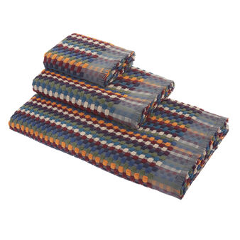 Cotton terry towel with mosaic motif