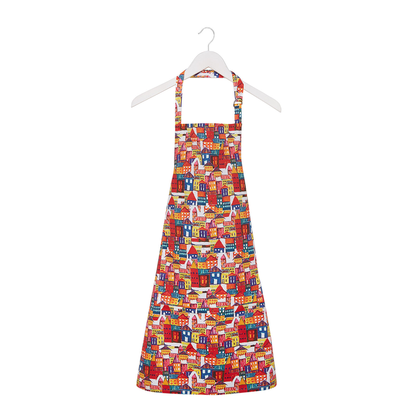 Cotton twill apron with house print