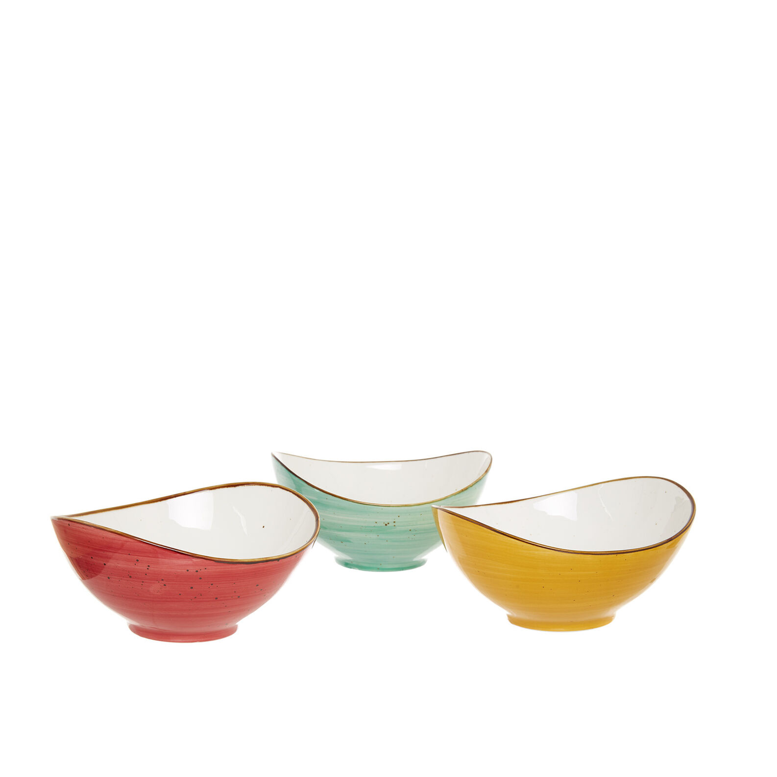 Oval bowl in coloured porcelain