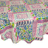 100% cotton patchwork round tablecloth with water-repellent treatment