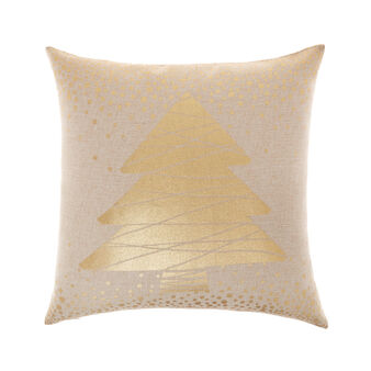 Cushion with metallic Christmas print 43x43cm