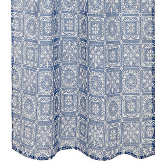 100% linen curtain with majolica pattern