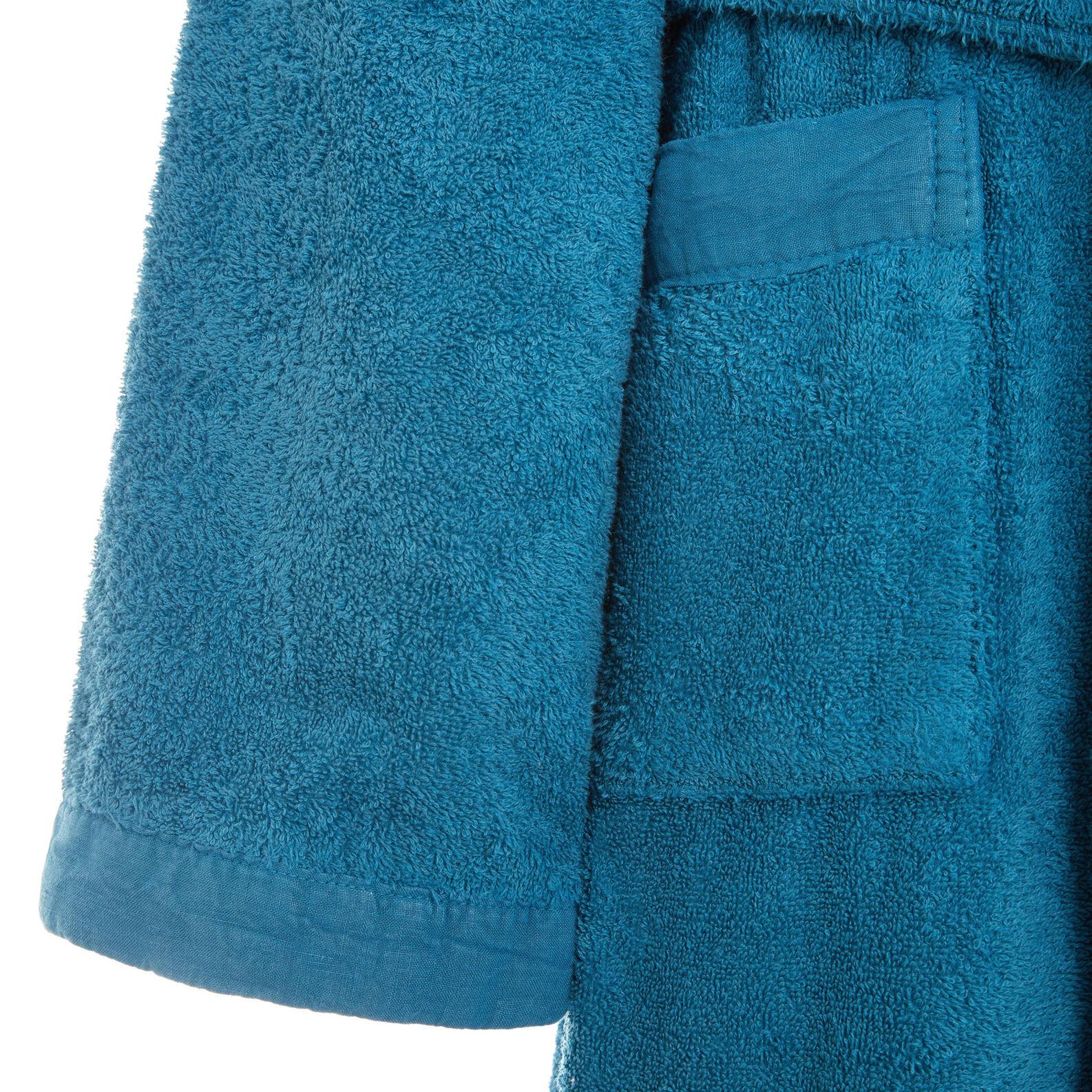 Bathrobe in 100% organic cotton with linen trim