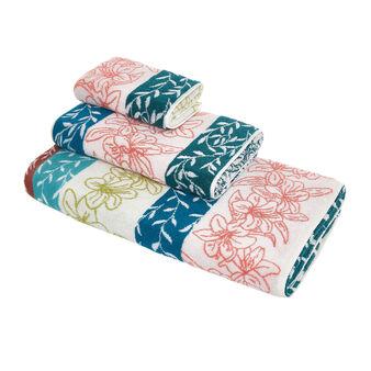 Asciugamano cotone jacquard motivo floreale