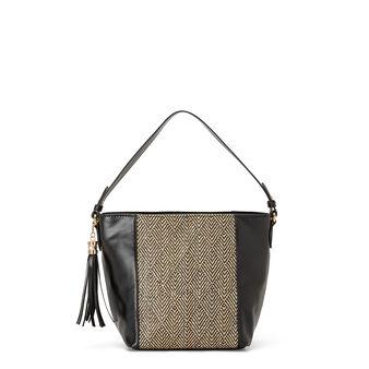 Bi-material hobo bag