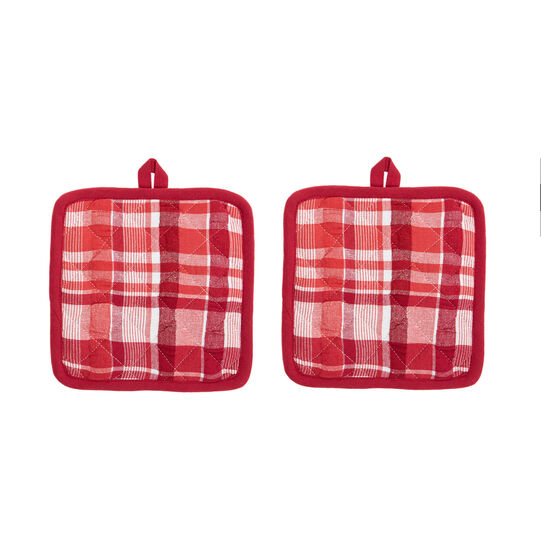 Two-pack check pot holders in 100% cotton