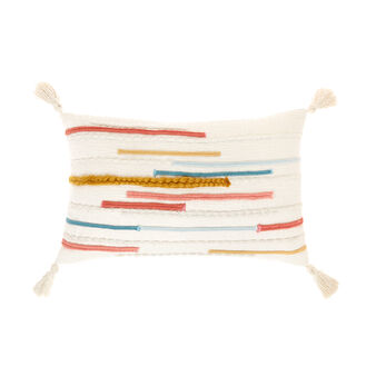 Cushion with braided inserts and tassels