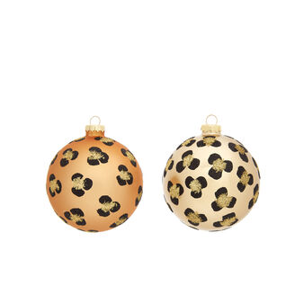 Hand-decorated animal print bauble